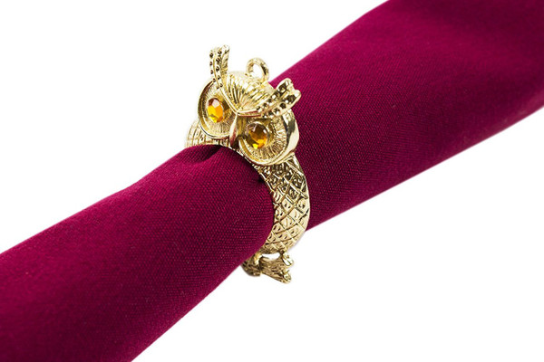 Fennco Styles Jeweled Design Metal Napkin Ring - Set of 4 (Owl)