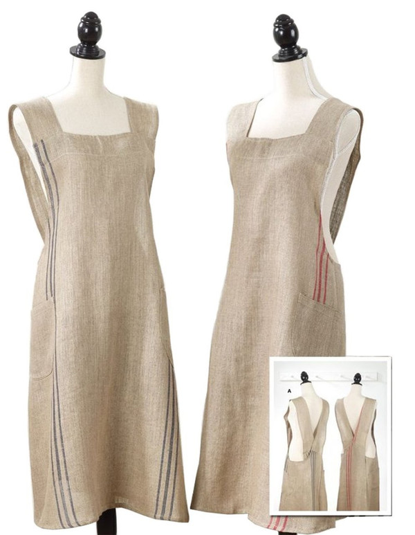 Fennco Styles Striped Criss Cross Back 100% Linen Home Kitchen Apron 2 Colors