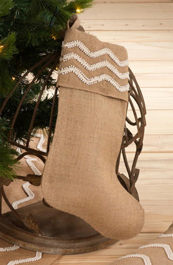 Fennco Styles Aspen Beaded Burlap Design Holiday Natural Christmas Stocking