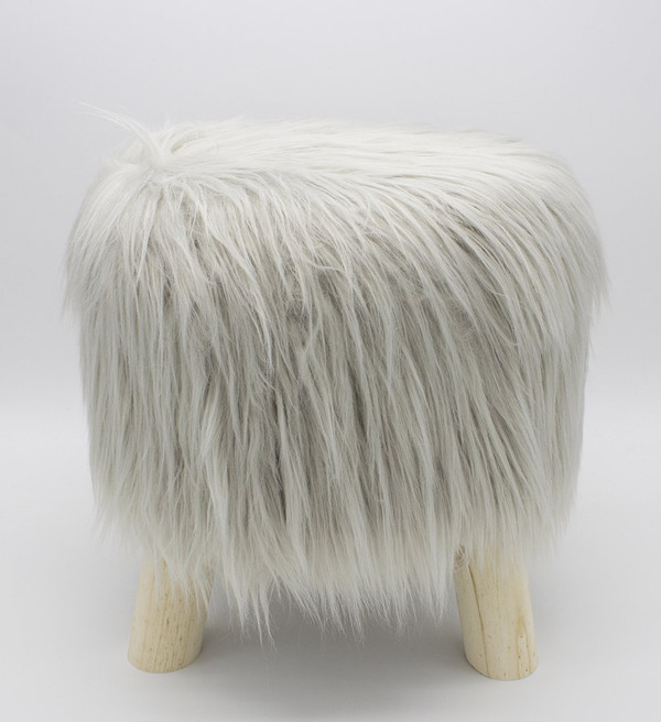 Fennco Styles Mongolian Long Hair Faux Fur Stool