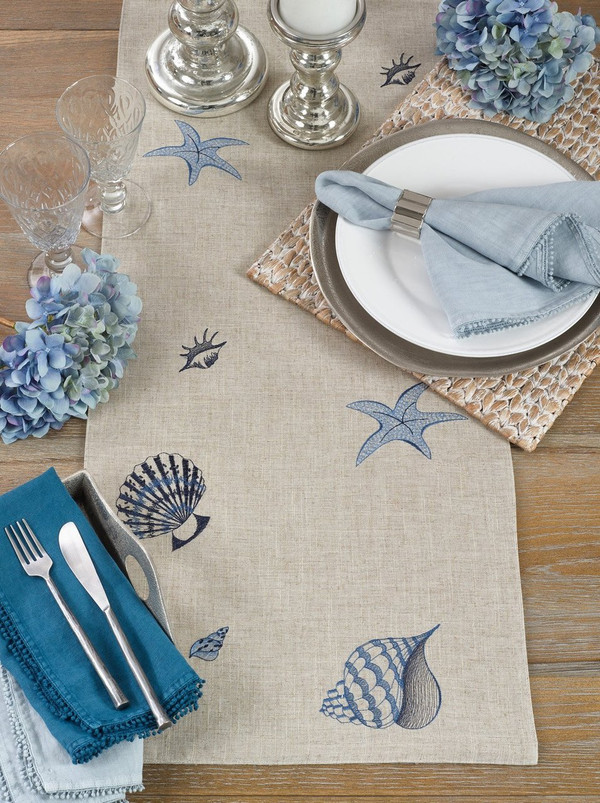 "Creative Stitched Seaside Decor Linen Table Runner-16""x70"""