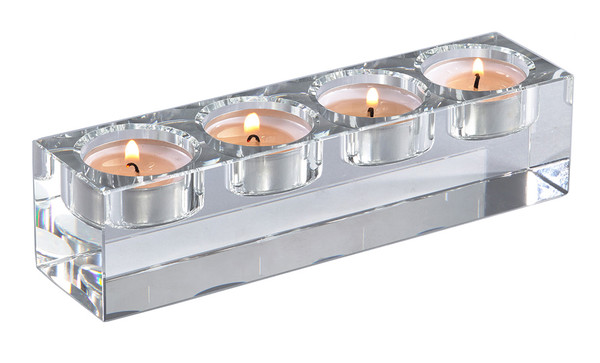 Modern Crystal Glass Retangular Four Tealight Candle Holder