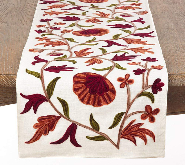 "Fennco Styles Luxurious Embroidered Design Table Runner - 16"" X 72"""