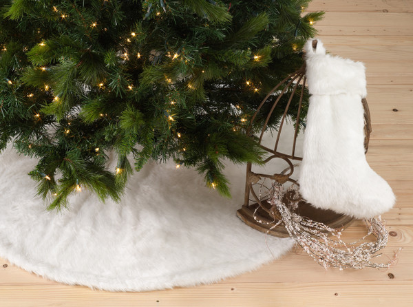Noël Blanc Faux Fur Christmas Tree Skirt