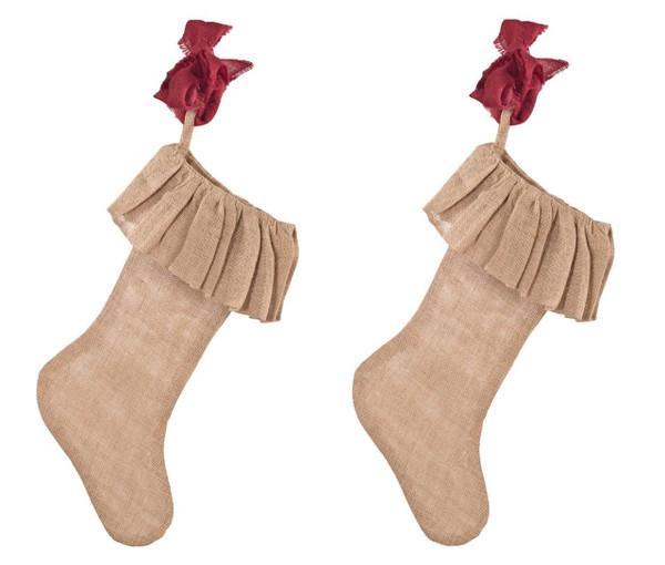 Ruffle Burlap Festive Holiday Christmas Stocking