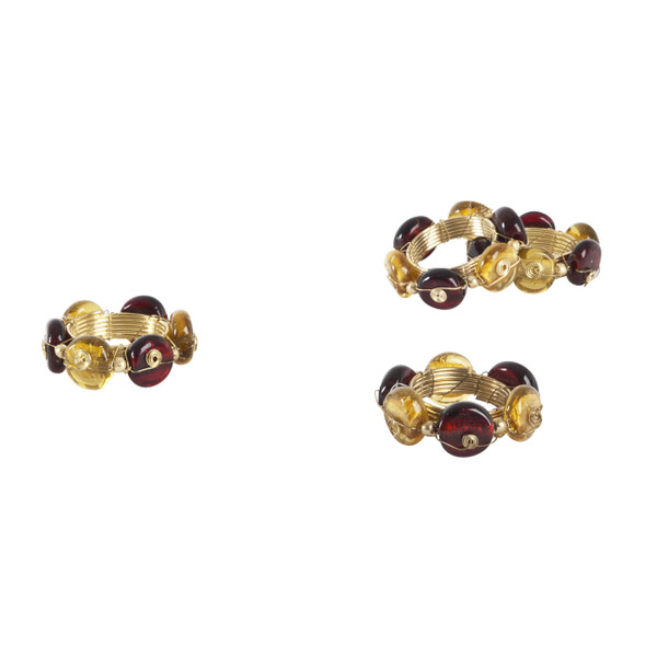 Beaded Goldtone Napkin Ring, Set of 4