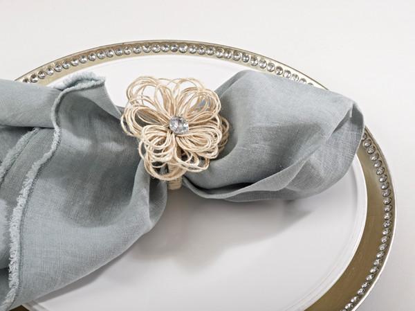 Jeweled Jute Flower Napkin Rings, Set of 4