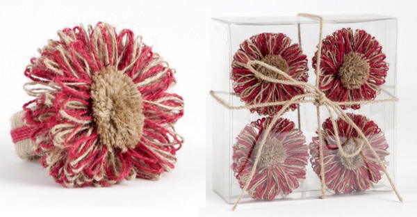 Lovely Flower Napkin Rings, Set of 4