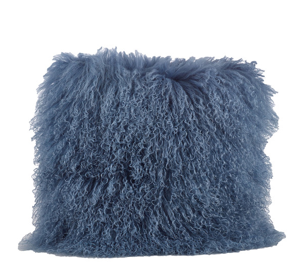 Fennco Styles Genuine Mongolian Lamb Fur Down Filled Decorative Throw Pillow, Many Colors