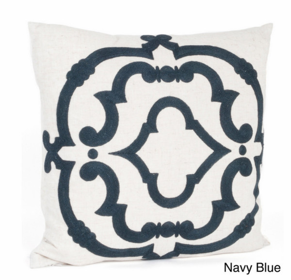 Embroidered Design Cotton Throw Pillow