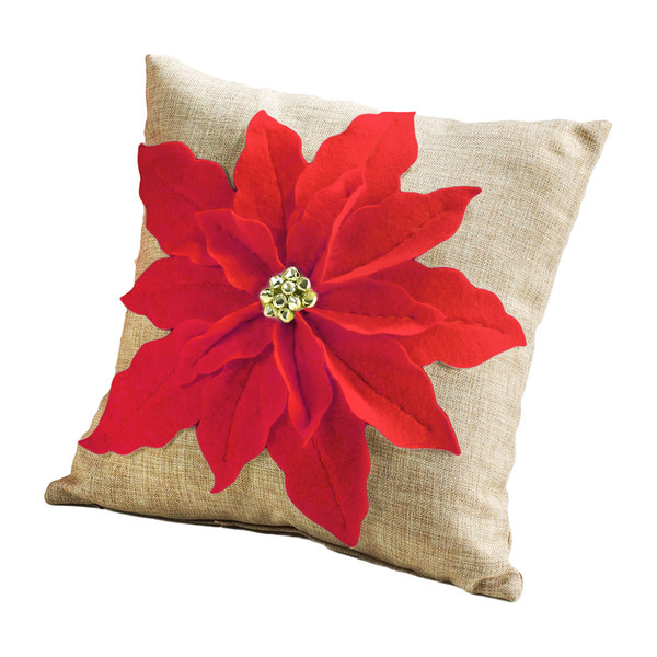 Poinsettia Felt Decorative Throw Pillow