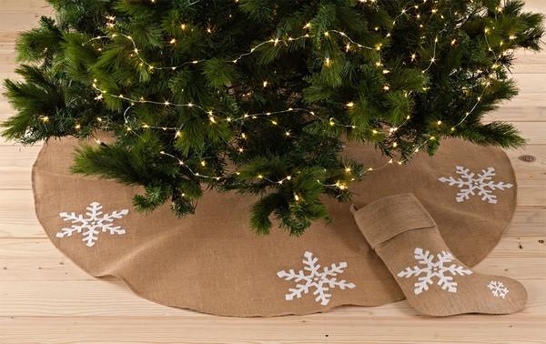Lumi Snowflake Burlap Holiday Christmas Tree Skirt