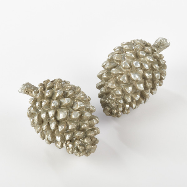 Fennco Styles Table Accents Resin Pinecones - Sold per 2 - 2 Colors - 2 Sizes