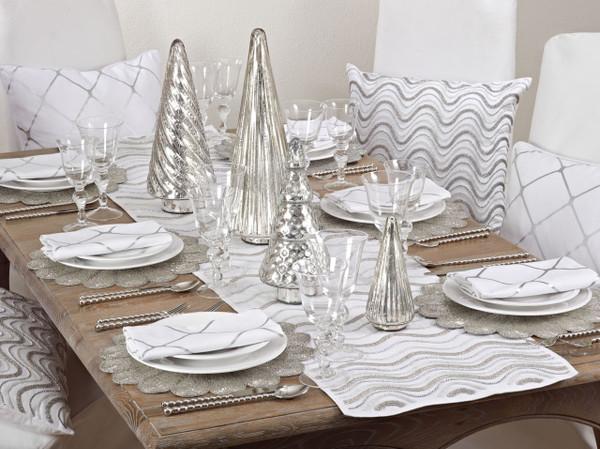Hand Beaded Design Sparkling Holiday Table Runner