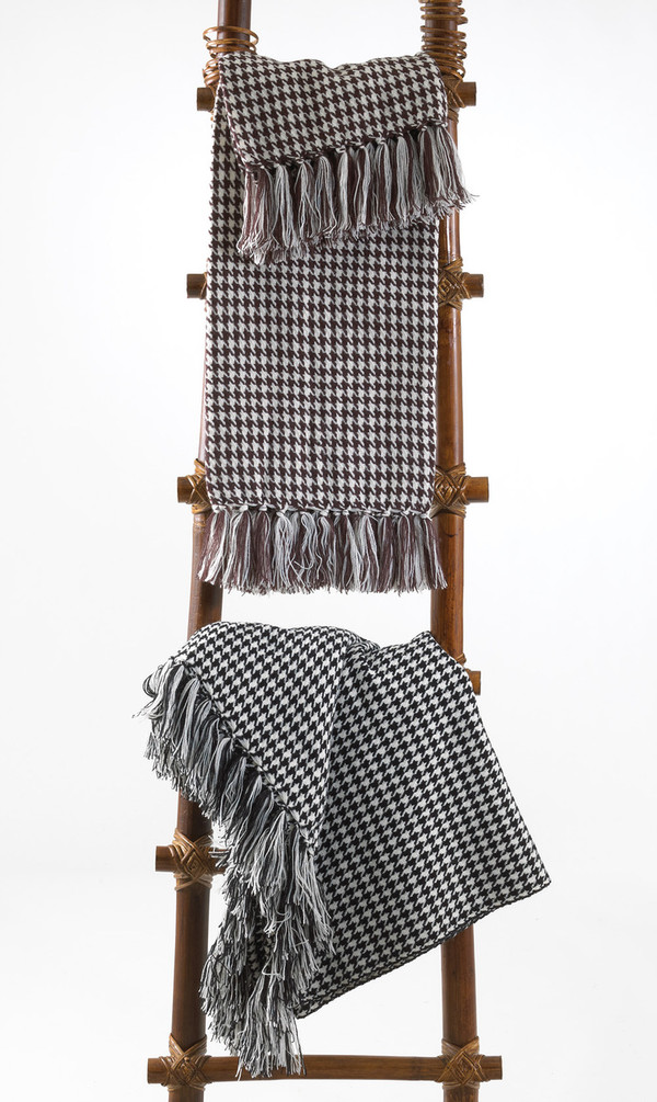 Houndstooth Fringe Throw Blanket