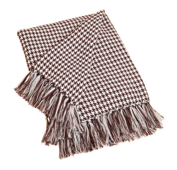 Houndstooth Fringe Throw Blanket, Chocolate