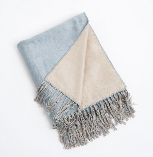 Reversible Design Classic Bamboo Throw Blanket, Aqua
