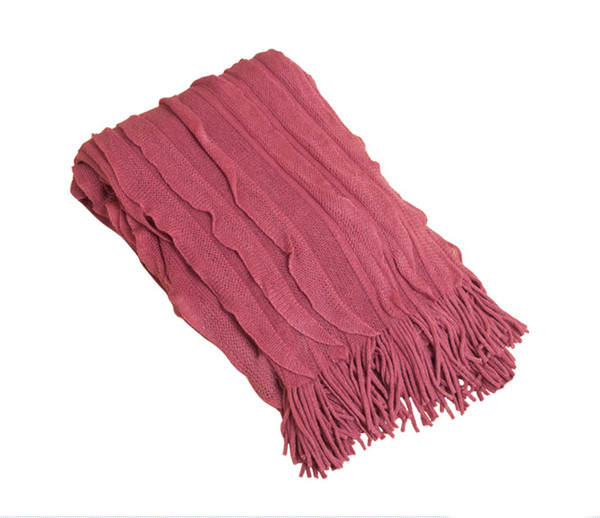 Ruffle Design Throw Blanket, Dusty Rose