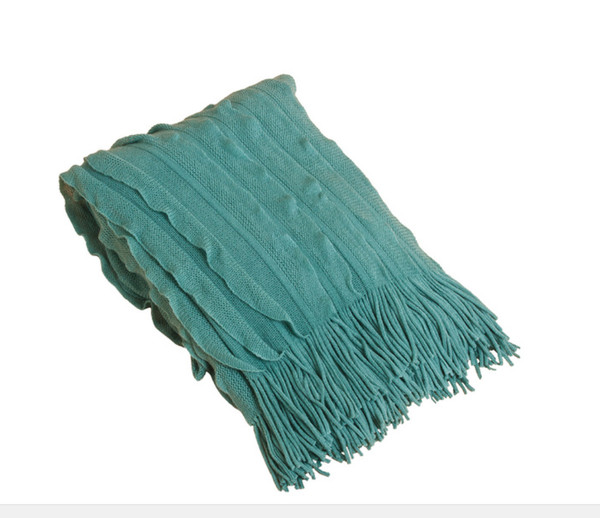 Ruffle Design Throw Blanket, Sea Green