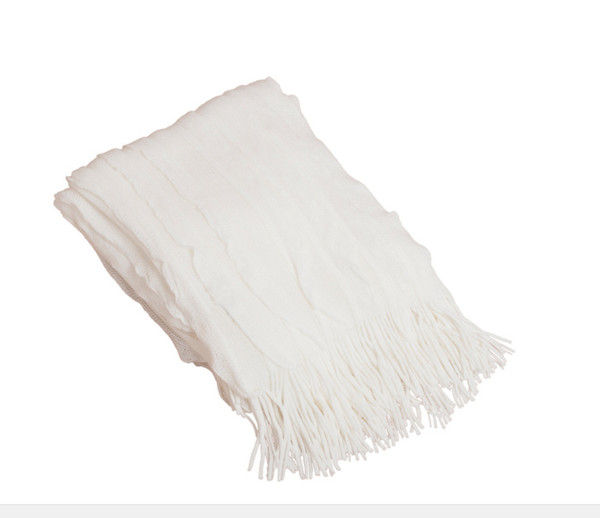 Ruffle Design Throw Blanket, Vanilla