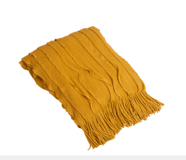 Ruffle Design Throw Blanket, Mustard