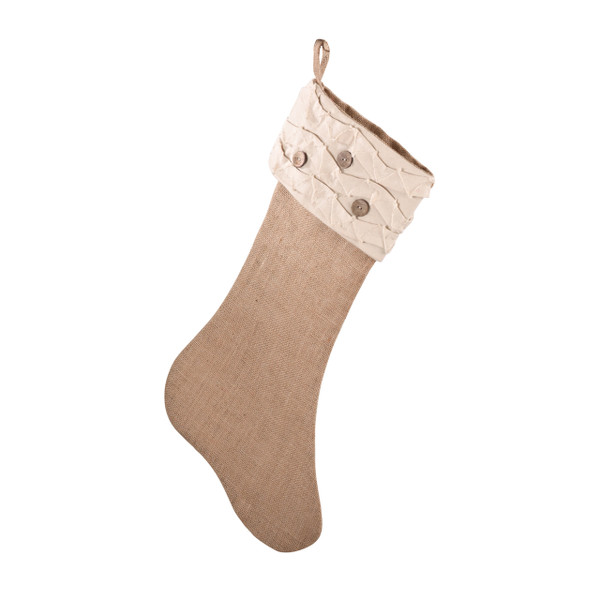 Holiday Décor Jute Design Natural Christmas Stocking, One Piece (ruffles and wood buttons)