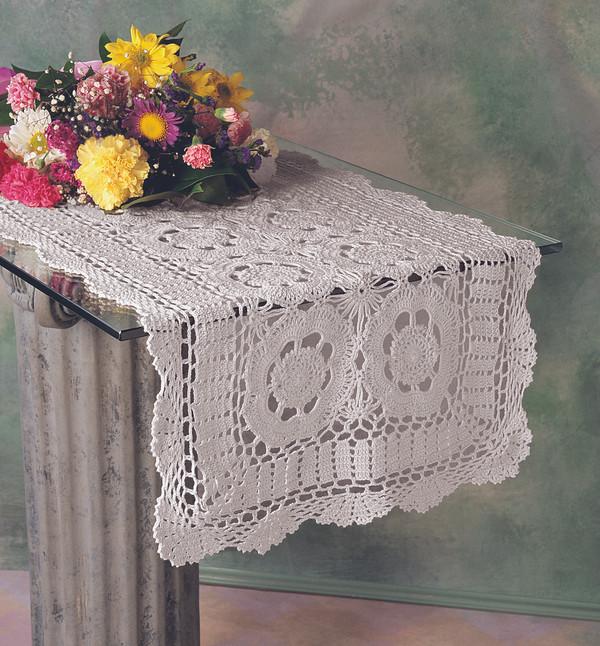 Handmade Crochet Lace Cotton Table Runner, White