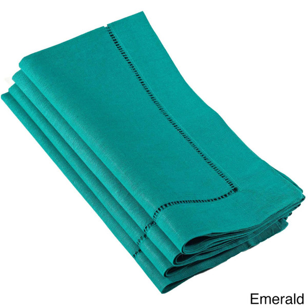 Vibrant Shades of Dyed Hemstitched Dinner Napkin, Set of 4