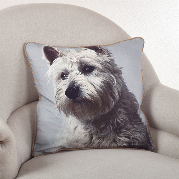 Fennco Styles 18-inch Cute Dog Themed Down Filled Throw Pillow, 2 Designs