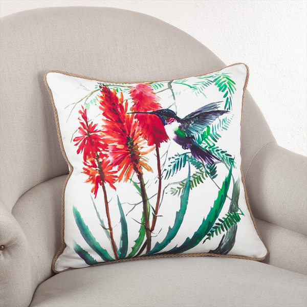 Fennco Styles 18-inch Humming Bird Down Filled Throw Pillow