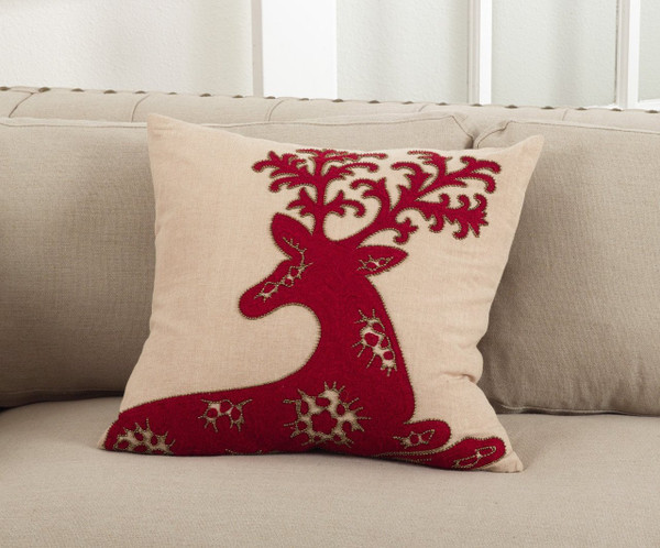 Fennco Styles Cervidae Embroidered Deer Design Table Runner/ Pillow