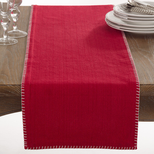"""Celena Collection Whip Stitched Design Cotton Table Runner - 13""""W X 72""""L - 5 Colors"""