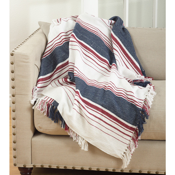 Fennco Styles Sevan Collection Soft Cotton Striped Throw Blanket