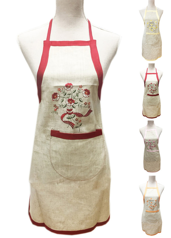 Fennco Styles Embroidered Flowers Linen-Cotton Full Length Bib Apron