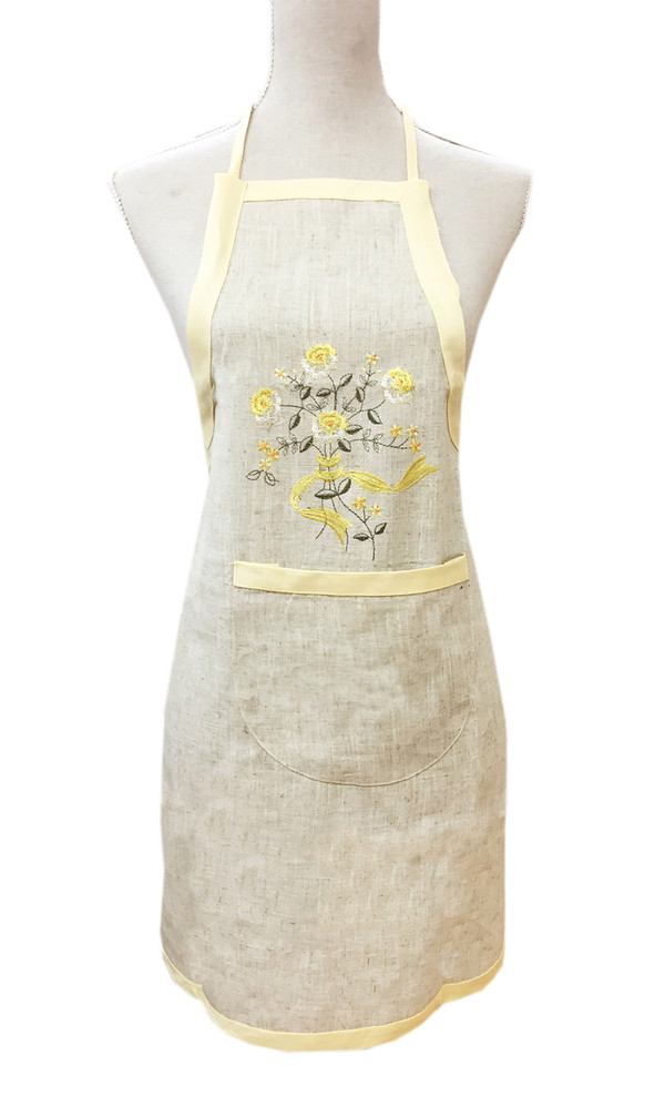 Fennco Styles Embroidered Flowers Linen-Cotton Full Length Bib Apron