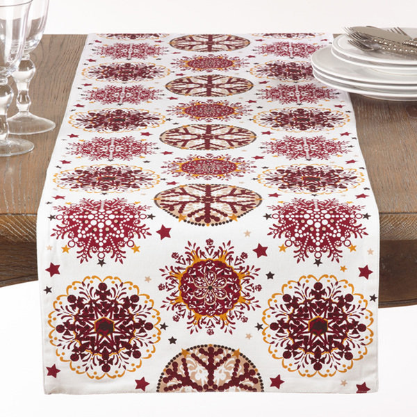 """Fennco Styles Holiday Decor Red Snowflake Print Table Runner - 16""""x72"""""""