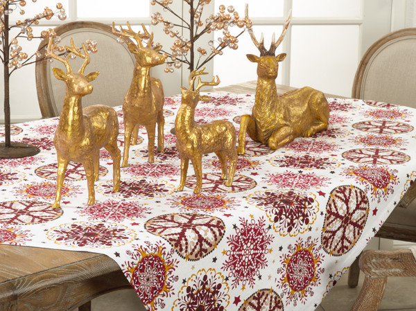 """Fennco Styles Holiday Decor Red Snowflake Print Table Topper - 60"""" Square"""