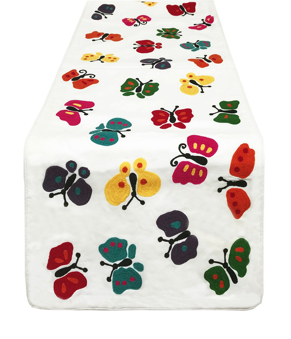 """Fennco Styles Colourful Butterfly Design Embroidered Table Runner - 16""""x72"""""""