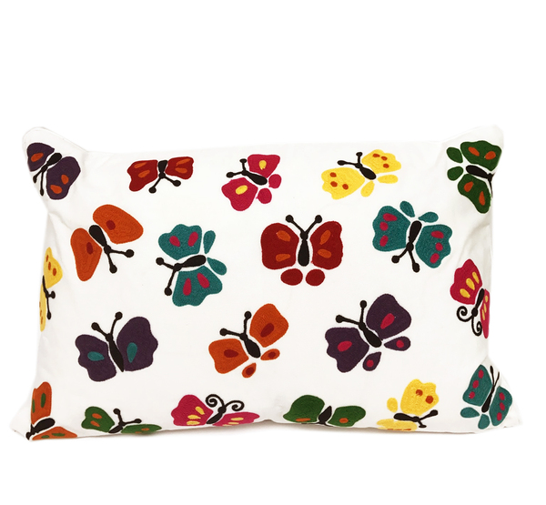 Fennco Styles Embroidered Colourful Butterfly Design Throw Pillow - 2 Sizes
