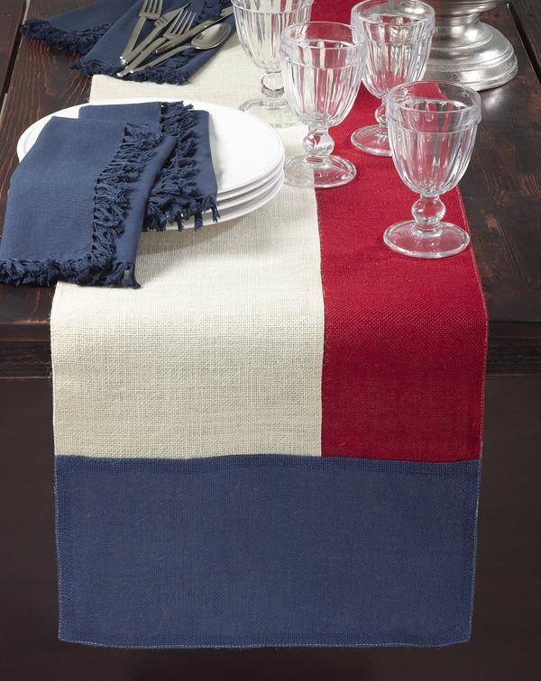 Fennco Styles American Flag Design Color Block Jute Table Runner