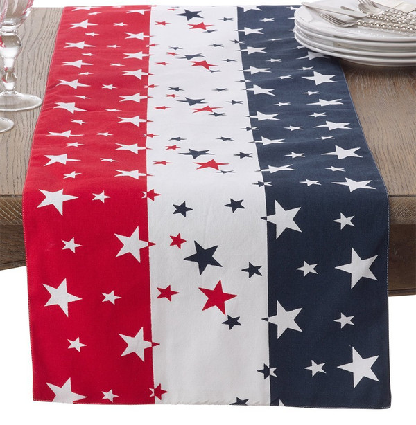 """Fennco Styles 4th of July Star Spangled Cotton Table Runner - 16""""x72"""""""