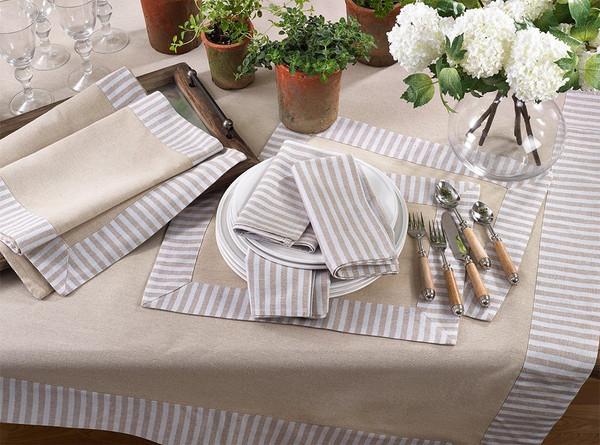 Fennco Styles Striped Border Printed Design Cotton Linen Series