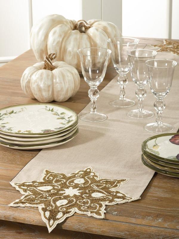 "Fennco Styles Beaded Snowflake Design Holiday Festive Table Runner - 13"" X 72'"