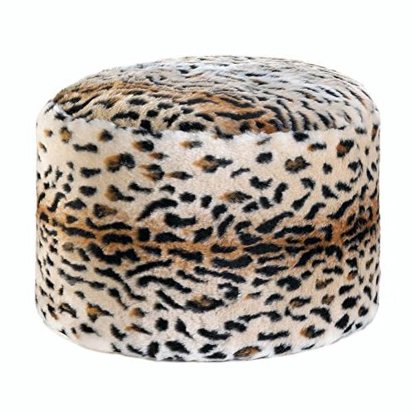 Fennco Styles Home Décor Snow Leopard Fuzzy Ottoman