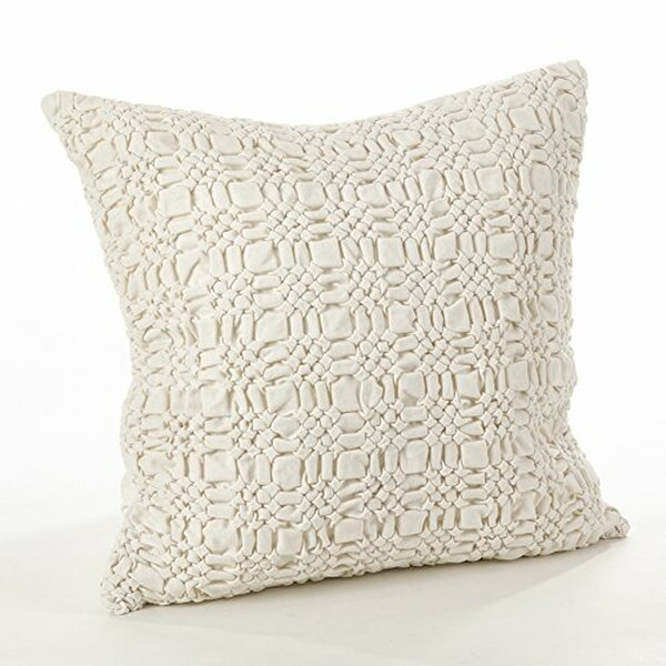 Fennco Styles Brisbane Collection Smocked Design Down Filled Cotton Throw Pillow - 2 Sizes