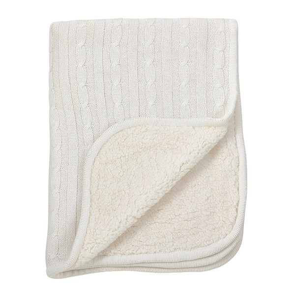 Fennco Styles Classic Cable Knit Sherpa Reversible Baby Blanket 3 Colors