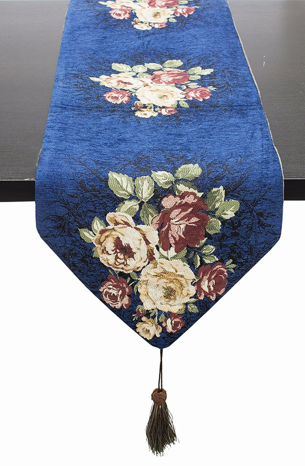 "Fennco Styles Vintage Floral Woven Cotton Decorative Table Runner 16""x72""(Blue)"