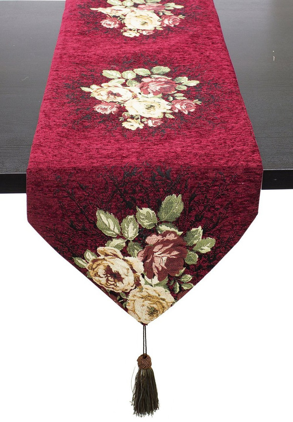 "Fennco Styles Vintage Floral Woven Cotton Decorative Table Runner 16""x72""(Burgundy)"