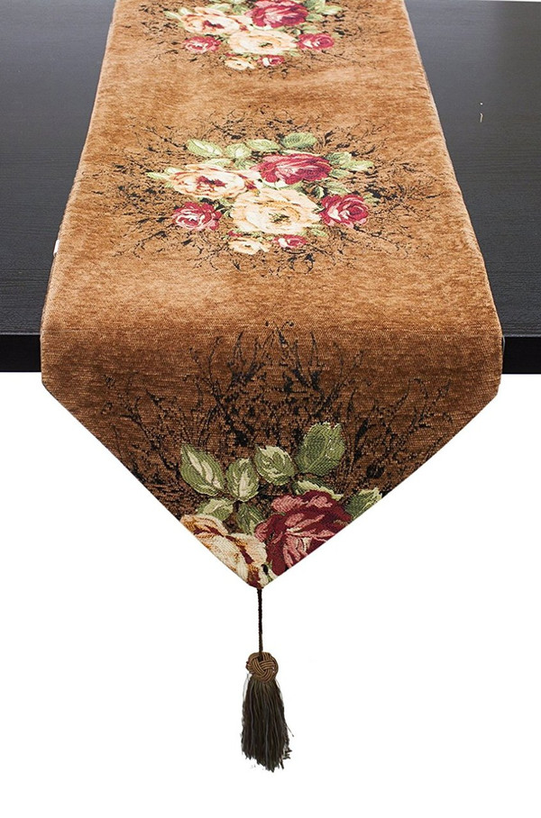 "Fennco Styles Vintage Floral Woven Cotton Decorative Table Runner 16""x72""(Camel)"