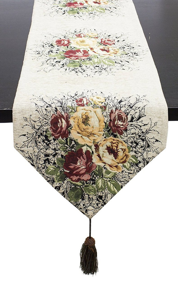 "Fennco Styles Vintage Floral Woven Cotton Decorative Table Runner 16""x72""(Coffee)"